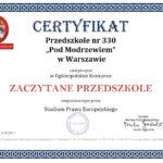 certyfikat ZACZYTANE PRZEDSZKOLE